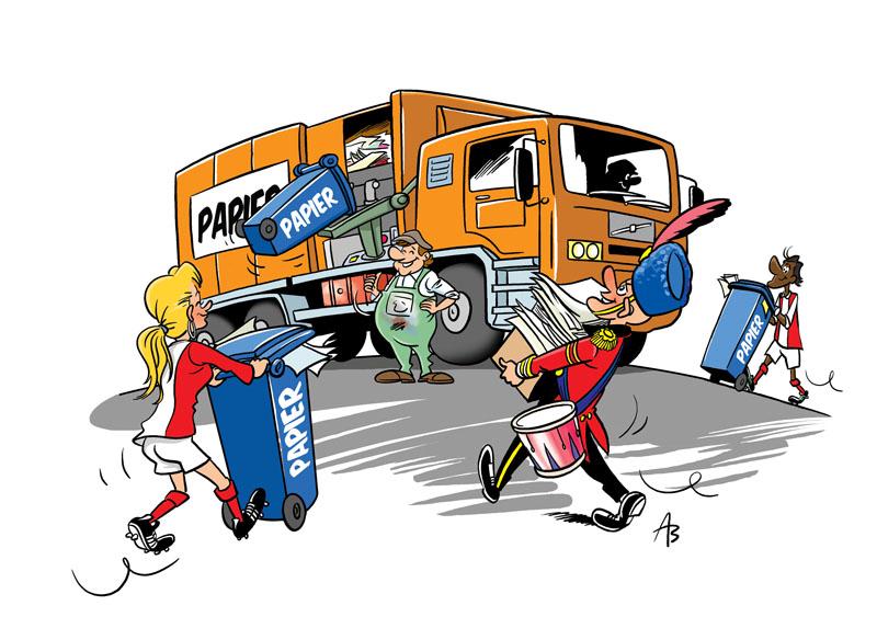 Cartoon ter stimulatie van het scheiden van afval
