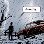 Scène uit het (nog) ongepubliceerde stripverhaal 'Vingervlug'