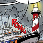 Fragment uit strip 'Rinus Redder' voor National Geographic Junior i.s.m. KNRM