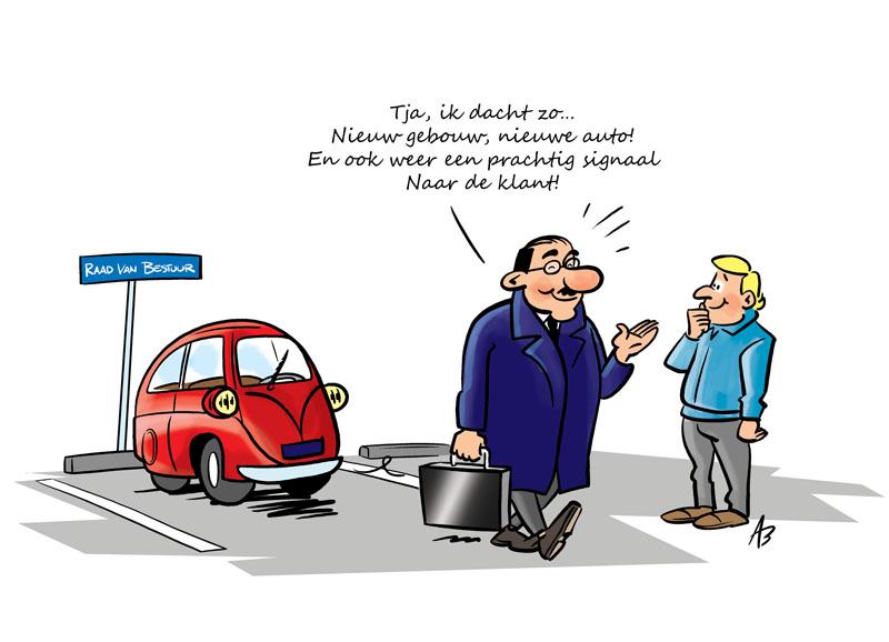 Cartoon voor bij een column voor APG i.s.m. Tekenteam